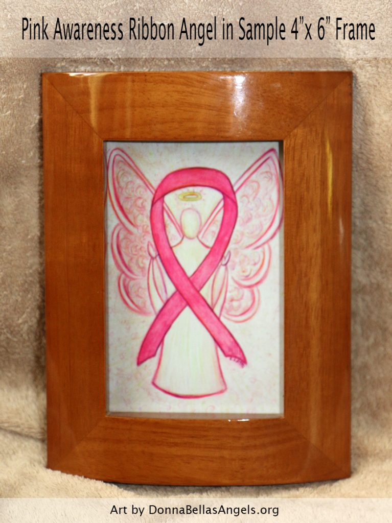 "Pink Awareness Ribbon Guardian Angel Art Painting Postcard in Sample 4""X6"" Framing for Breast Cancer"