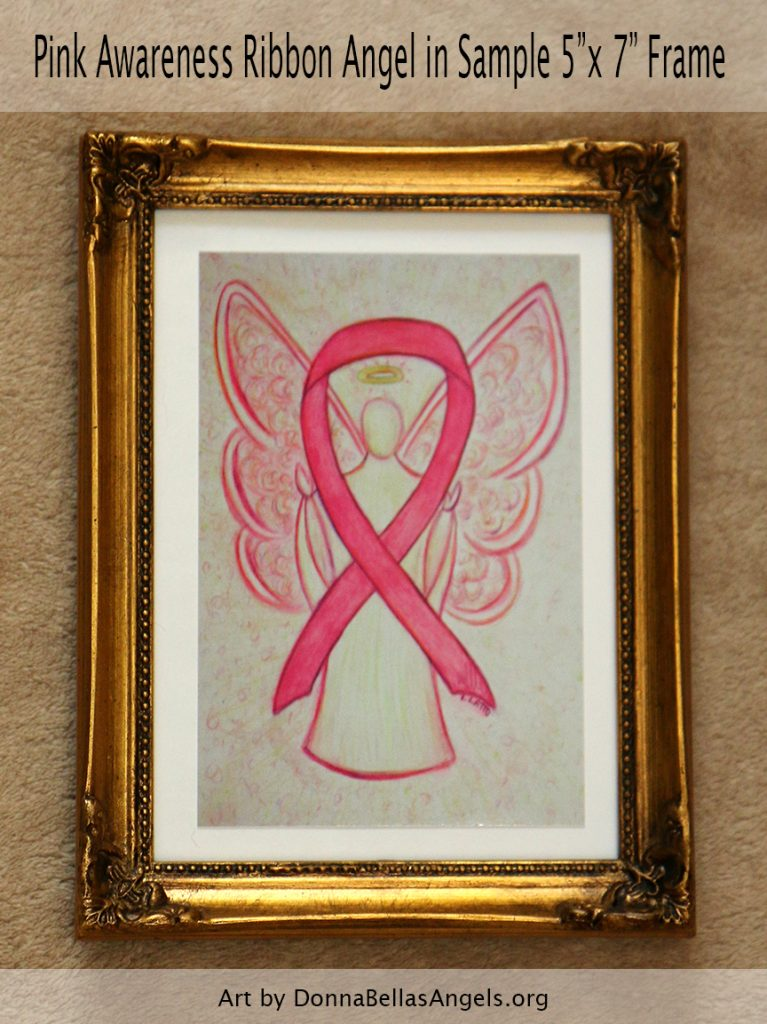 "Pink Awareness Ribbon Guardian Angel Art Painting Postcard in Sample 5""X7"" Framing for Breast Cancer"