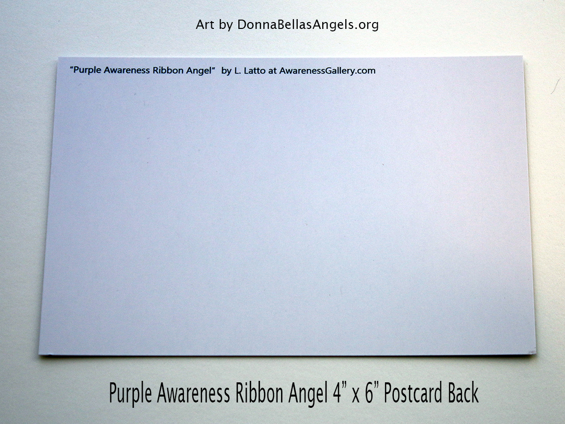 Purple Awareness Ribbon Guardian Angel Art Painting Postcard (Back)