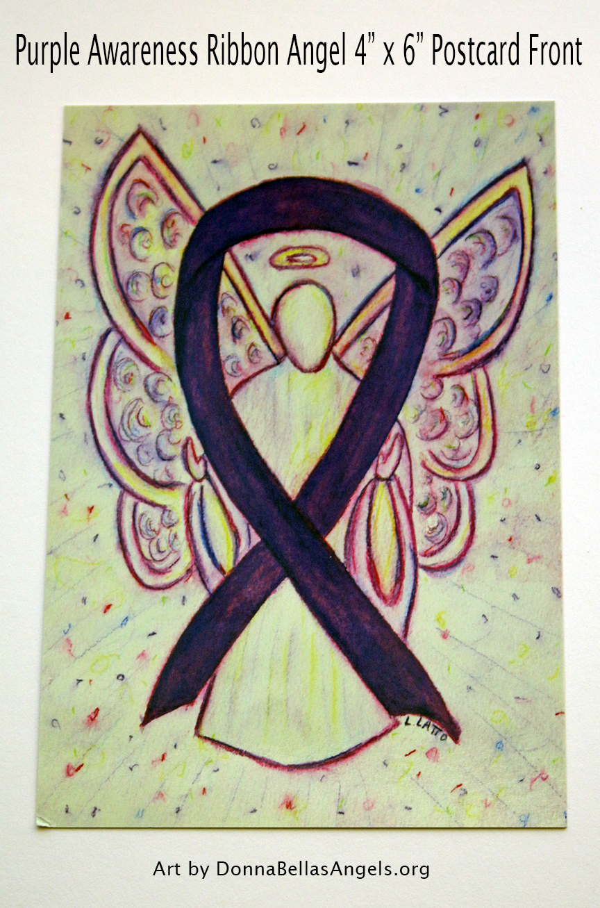 Purple Awareness Ribbon Guardian Angel Art Painting Postcard (Front)