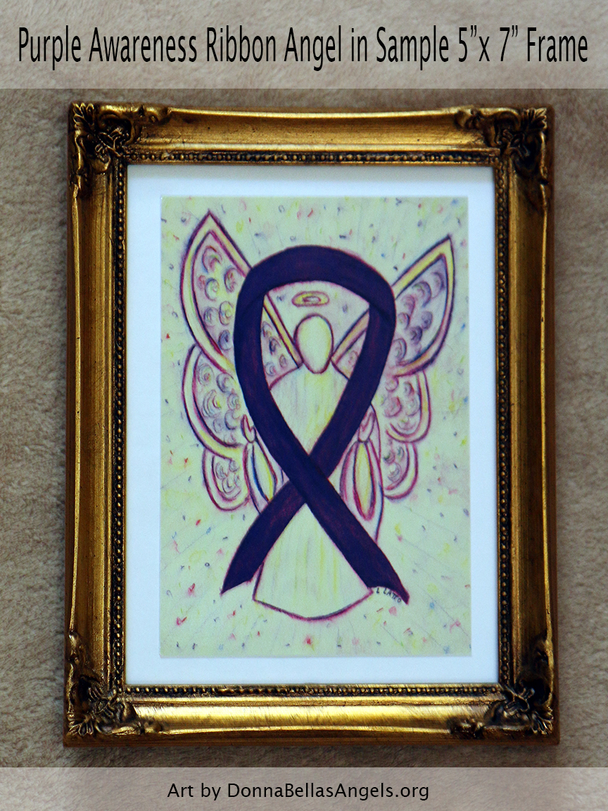 "Purple Awareness Ribbon Guardian Angel Art Painting Postcard in Sample 5""X7"" Frame"