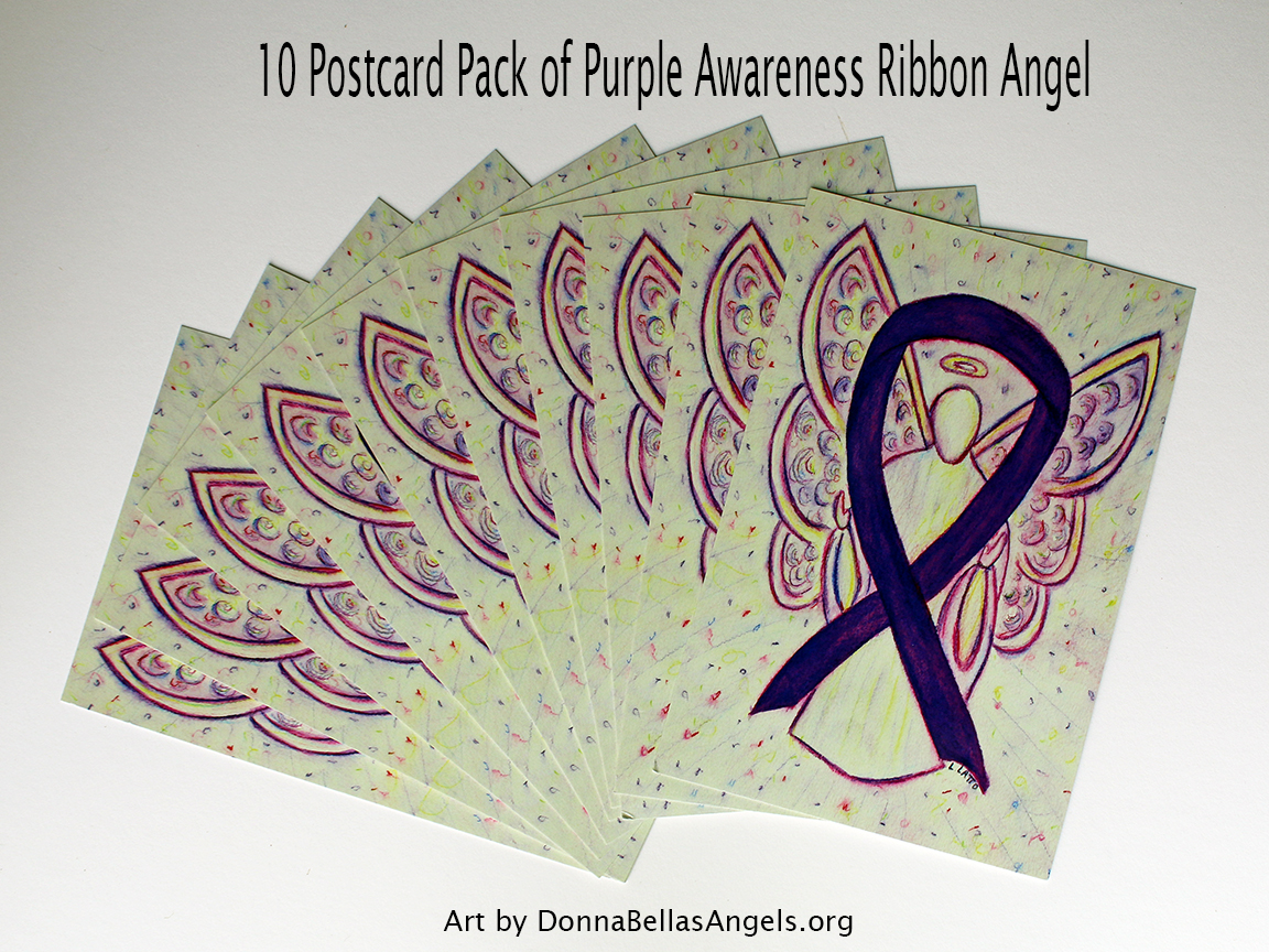Purple Awareness Ribbon Guardian Angel Art Painting Postcards 10 Pack on Etsy