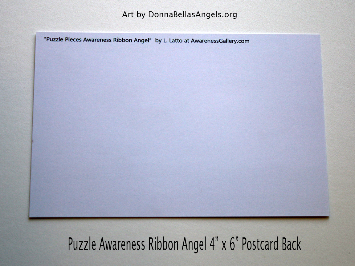Puzzle Awareness Ribbon Guardian Angel Art Postcard (Back) for Autism Spectrum Disorder (ASD)