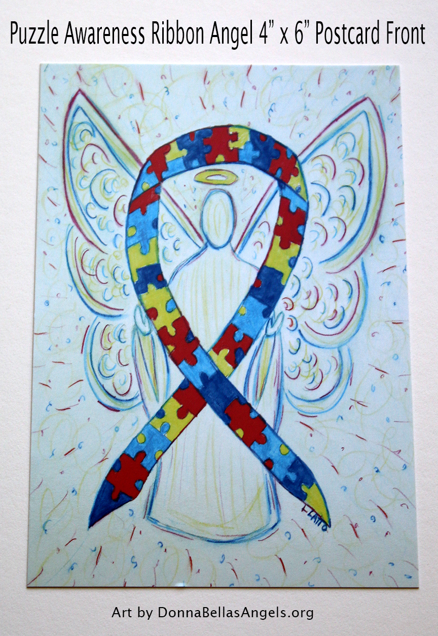 Puzzle Awareness Ribbon Guardian Angel Art Postcard (Front) for Autism Spectrum Disorder (ASD)