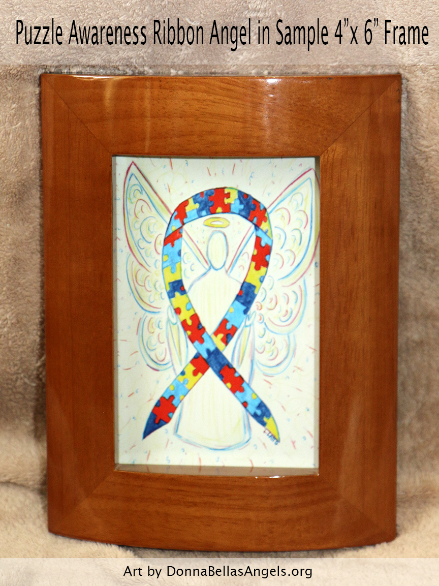 "Puzzle Awareness Ribbon Guardian Angel Art Painting Postcard in Sample 4""X6"" Frame for Autism Spectrum Disorder (ASD)"