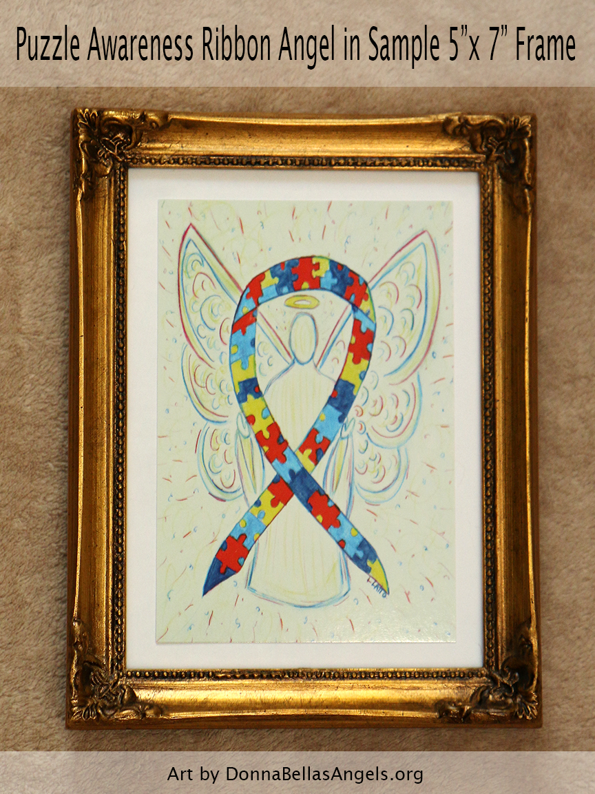 "Puzzle Awareness Ribbon Guardian Angel Art Painting Postcard in Sample 5""X7"" Frame for Autism Spectrum Disorder (ASD)"