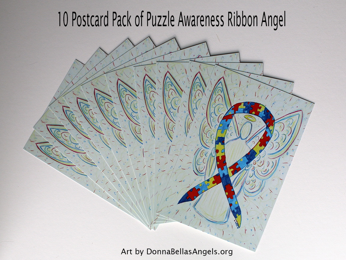 Puzzle Awareness Ribbon Guardian Angel Art Painting Postcards 10 Pack on Etsy for Autism Spectrum Disorder