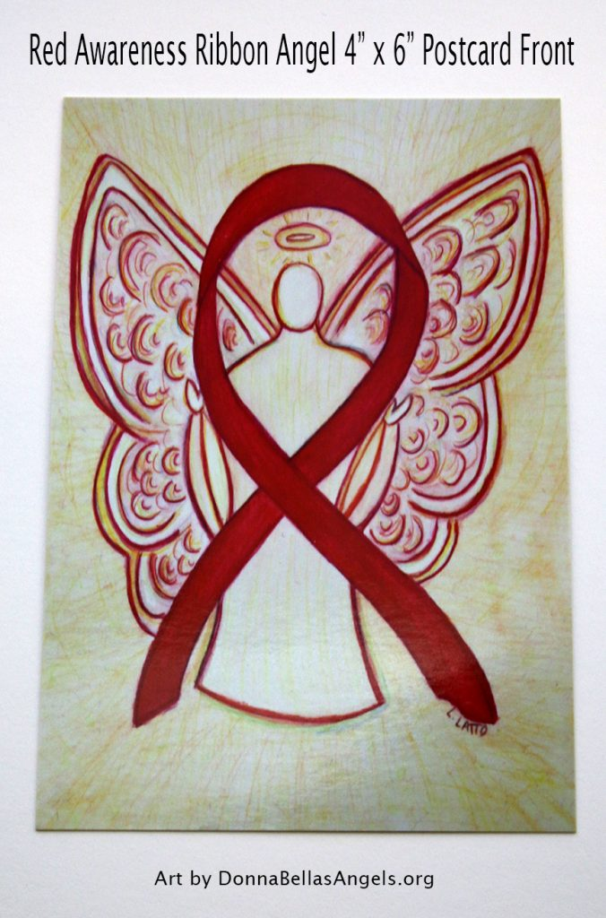 Red Awareness Ribbon Angel Postcards Art Painting (Front)