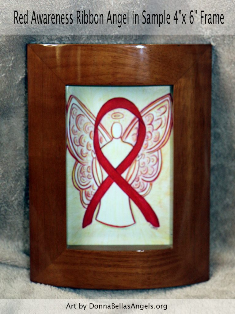 "Red Awareness Ribbon Angel Postcards in Sample 4""x6"" Framing"