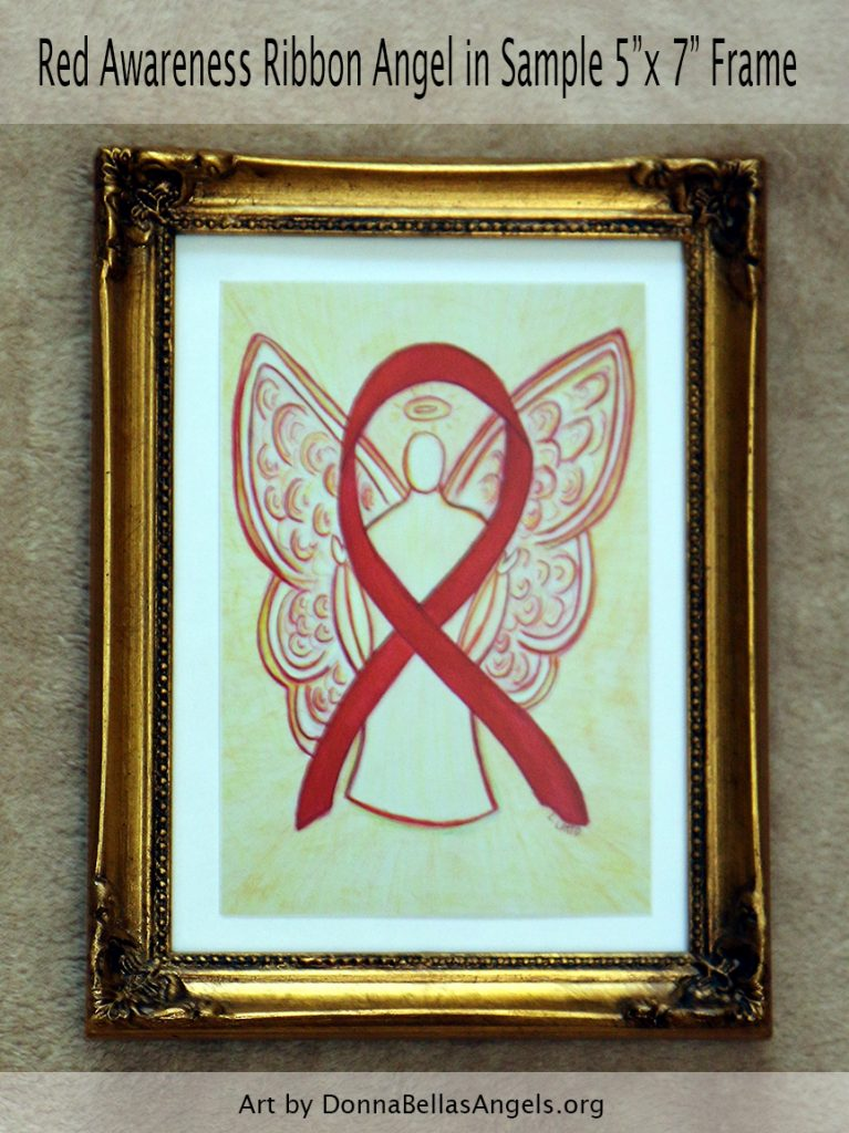 "Red Awareness Ribbon Angel Postcard in Sample 5""x7"" Framing"