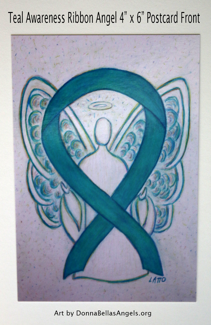 Teal Awareness Ribbon Guardian Angel Art Painting Postcard (Front)