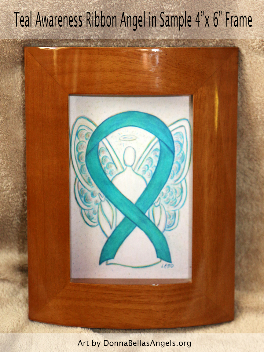 "Teal Awareness Ribbon Guardian Angel Art Painting Postcard in Sample 4""X6"" Frame"