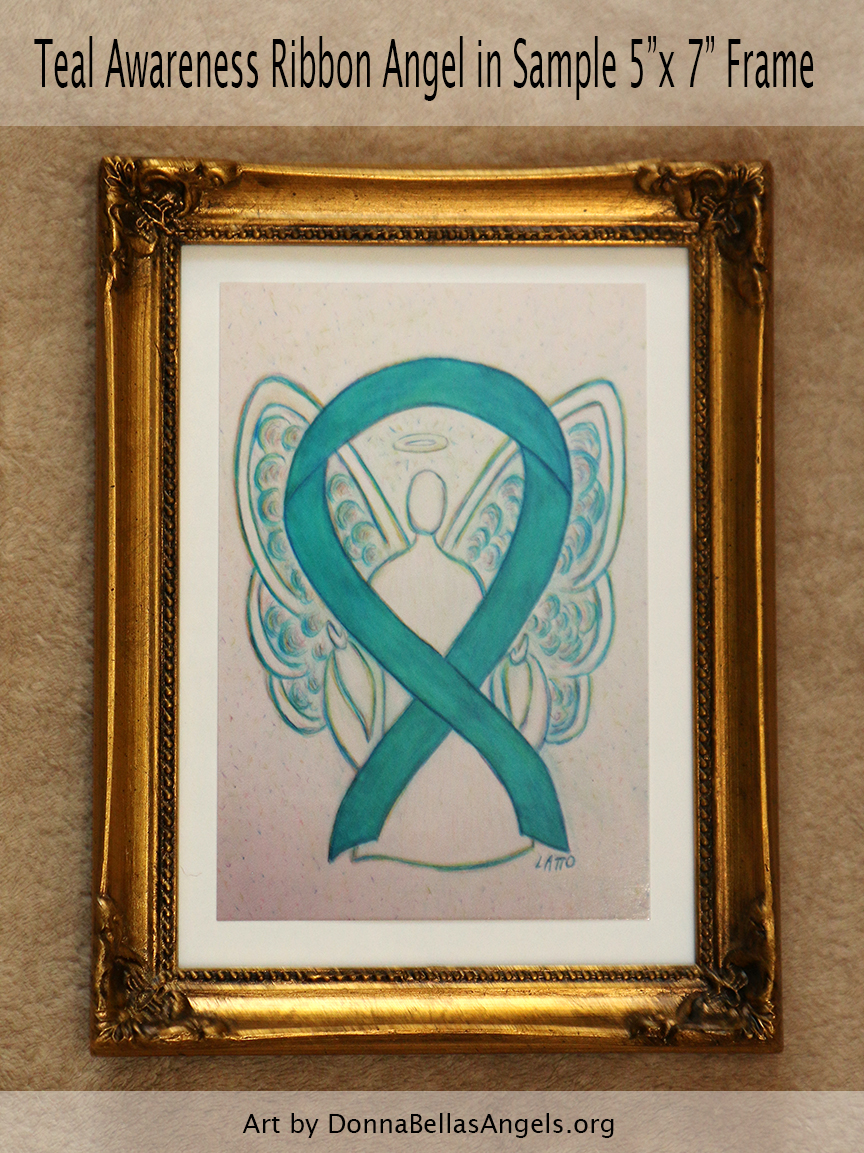 "Teal Awareness Ribbon Guardian Angel Art Painting Postcard in Sample 5""X7"" Frame"