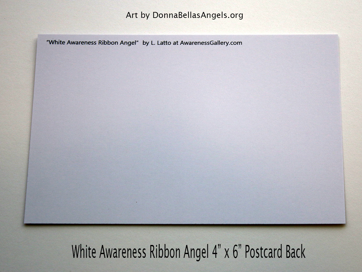 White Awareness Ribbon Guardian Angel Art Painting Postcard (Back)