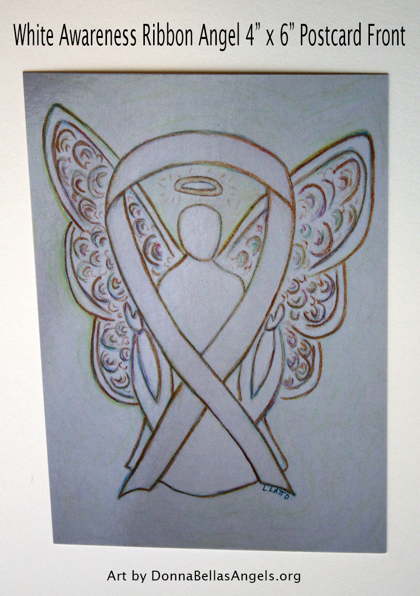 White Awareness Ribbon Guardian Angel Art Painting Postcard (Front)