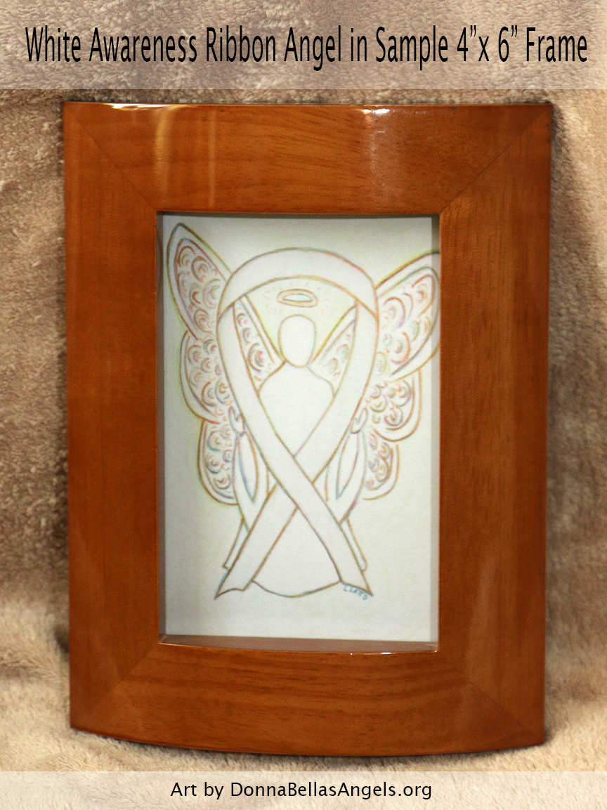 "White Awareness Ribbon Guardian Angel Art Painting Postcard in Sample 4""X6"" Frame"