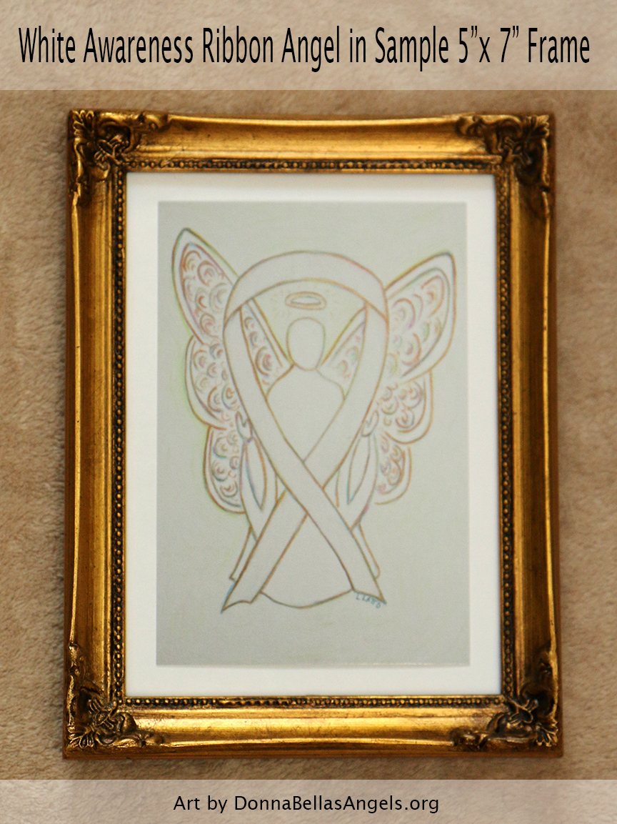 "White Awareness Ribbon Guardian Angel Art Painting Postcard in Sample 5""X7"" Frame"