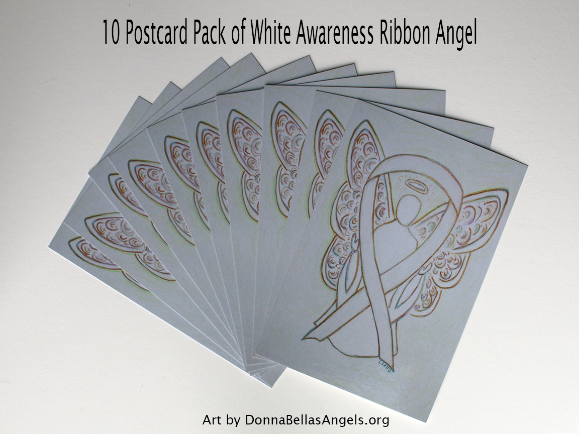 White Awareness Ribbon Guardian Angel Art Painting Postcards 10 Pack on Etsy