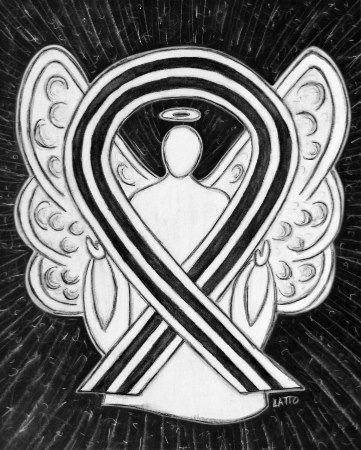 White and Black Awareness Ribbon Angel Painting Image