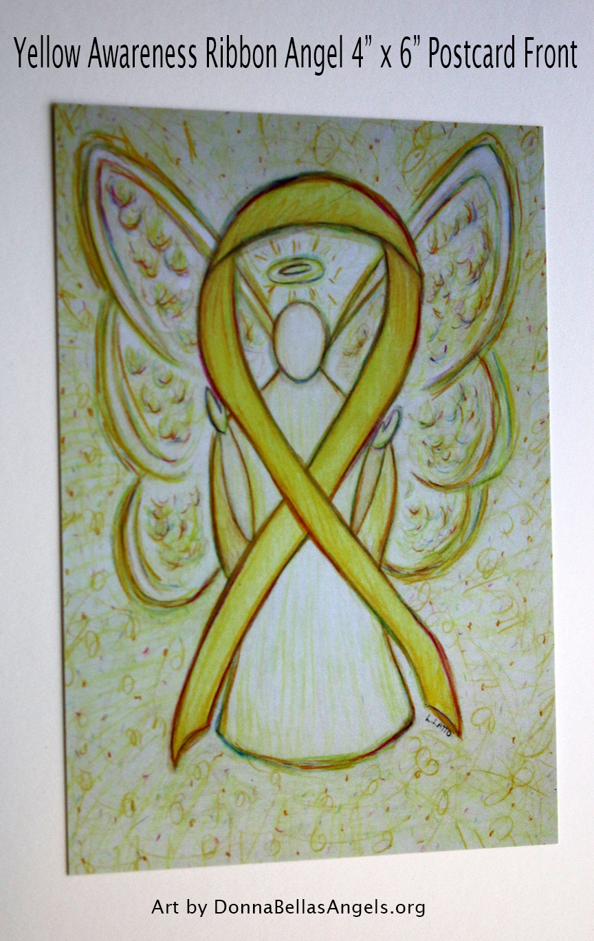 Yellow Awareness Ribbon Guardian Angel Art Postcards on Etsy