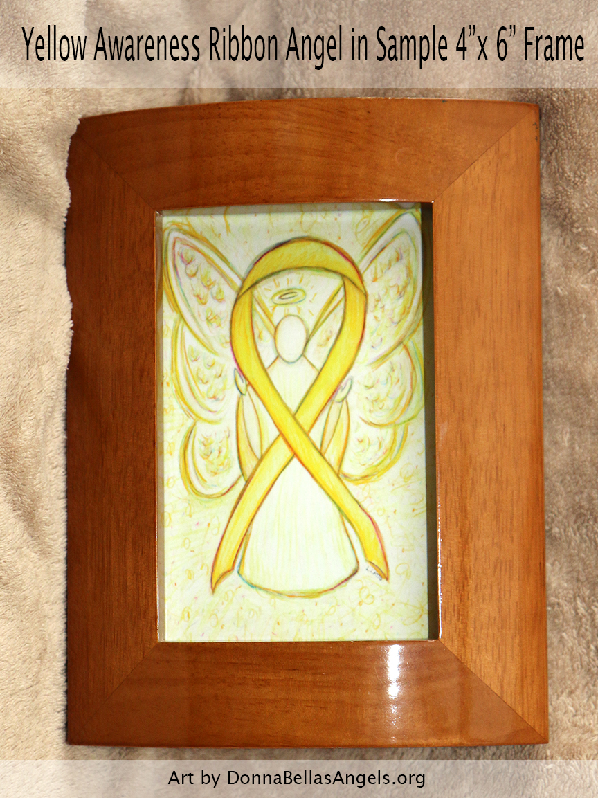 "Yellow Awareness Ribbon Guardian Angel Art Painting Postcard in Sample 4""X6"" Frame"