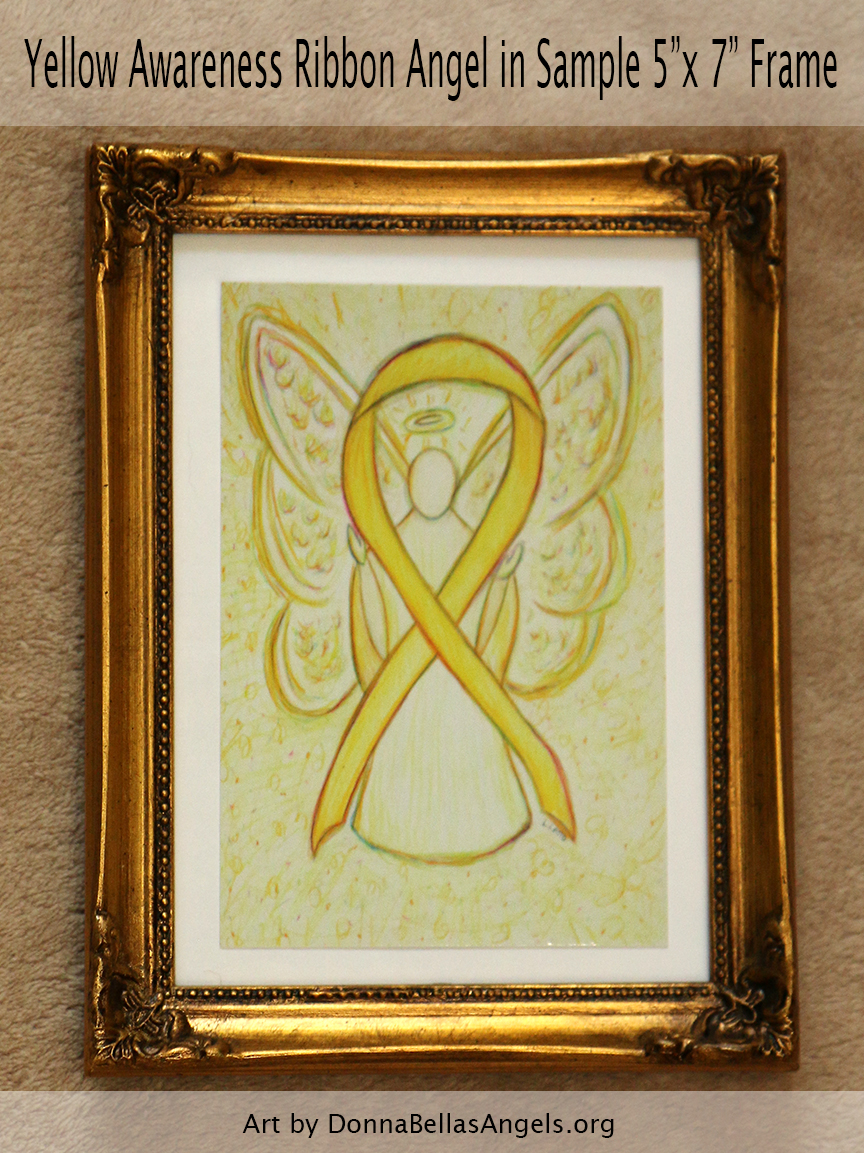 "Yellow Awareness Ribbon Guardian Angel Art Painting Postcard in Sample 5""X7"" Frame"