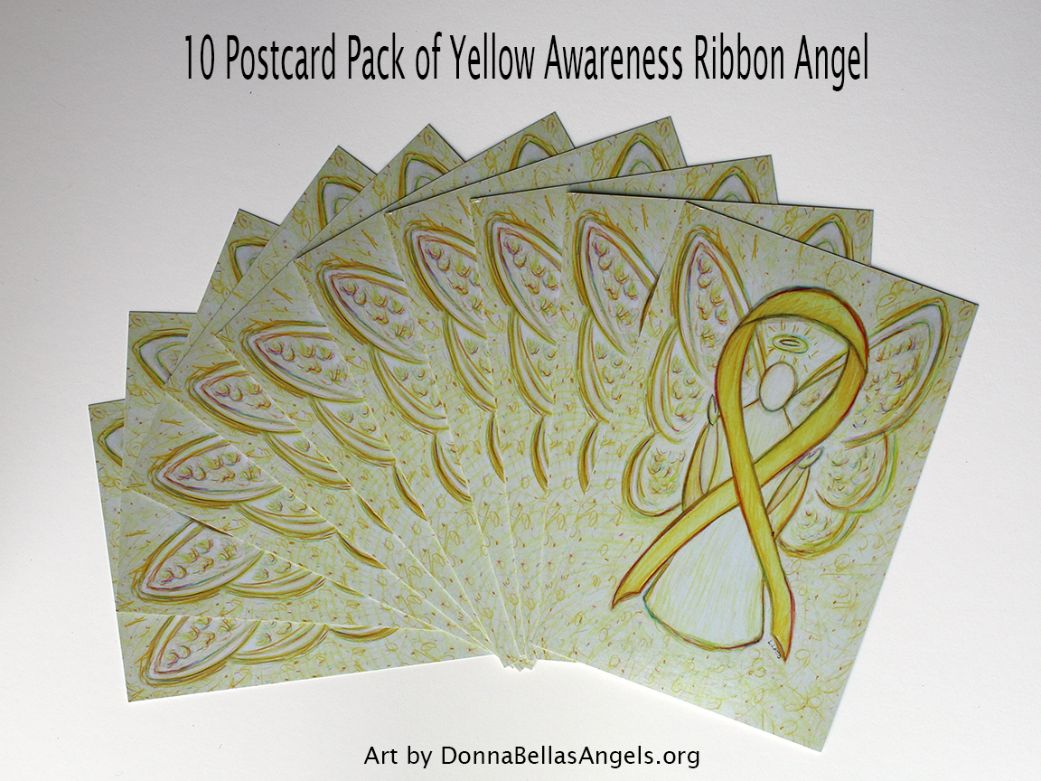 Yellow Awareness Ribbon Guardian Angel Art Painting Postcards 10 Pack on Etsy