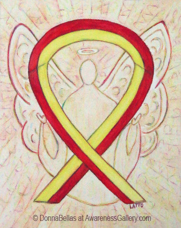Red and Yellow Awareness Ribbon Angel Art Watercolor Image