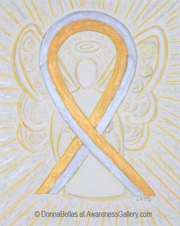 Gold and Silver Awareness Ribbon Angel Art Watercolor Painting Image