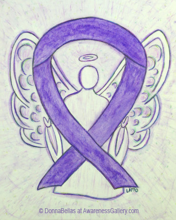 Violet Angel Awareness Ribbon Watercolor Art Painting