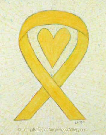 Heart Yellow Awareness Ribbon Watercolor Illustration