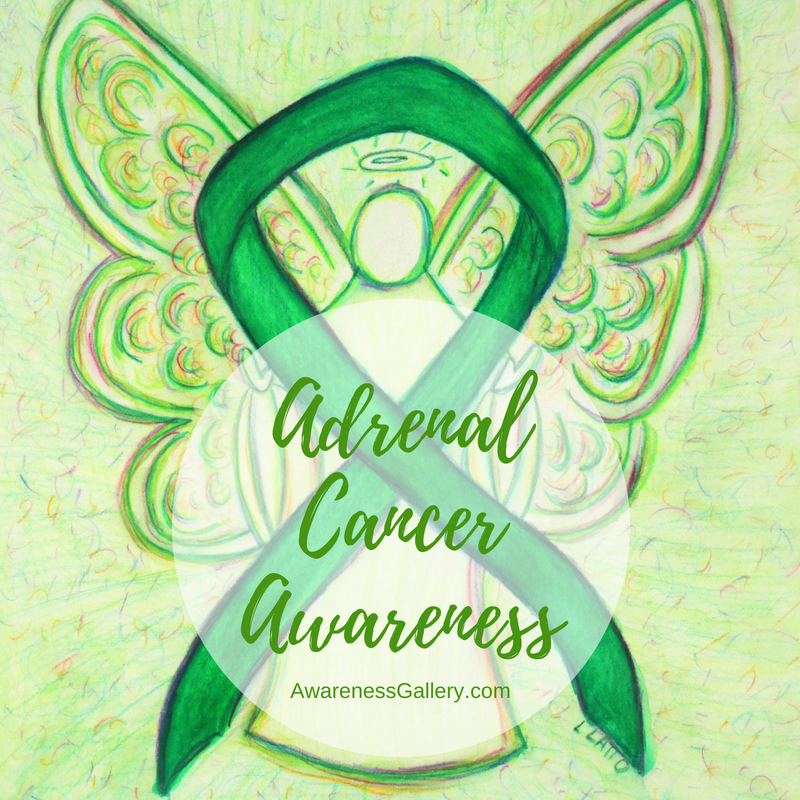 Adrenal Cancer Kelly Green Awareness Ribbon Art and Gifts