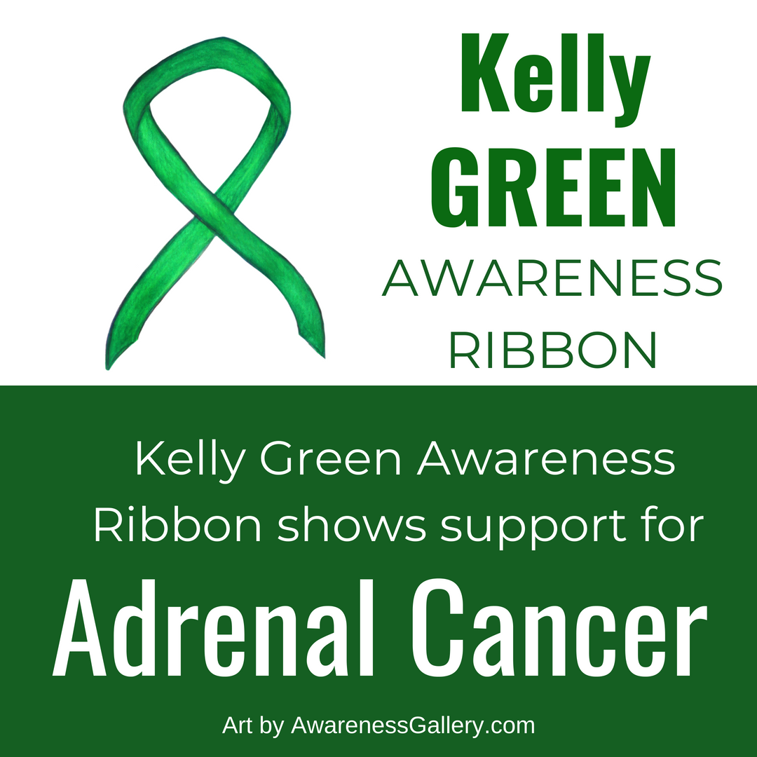 Kelly Green Awareness Ribbon for Adrenal Cancer