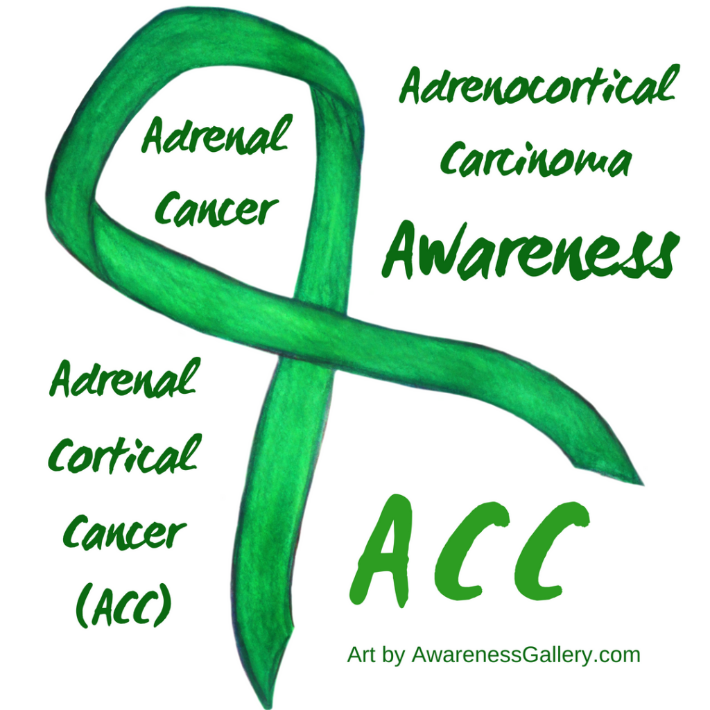 ACC Adrenocortical carcinoma Kelly Green Awareness Ribbon