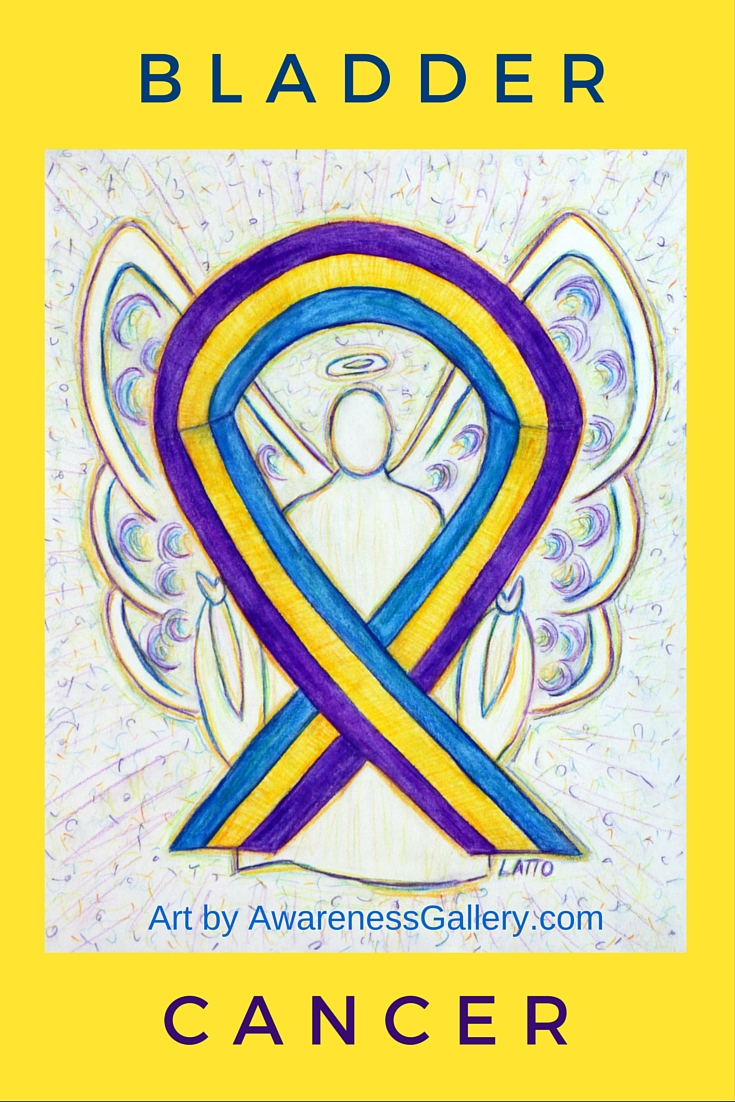 Marigold, Blue, Purple Awareness Ribbon for Bladder Cancer
