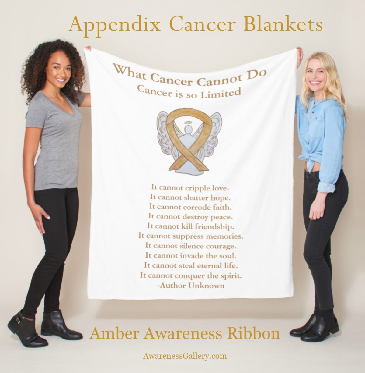 Appendix Cancer Amber Awareness Ribbon Soft Fleece or Throw Blankets