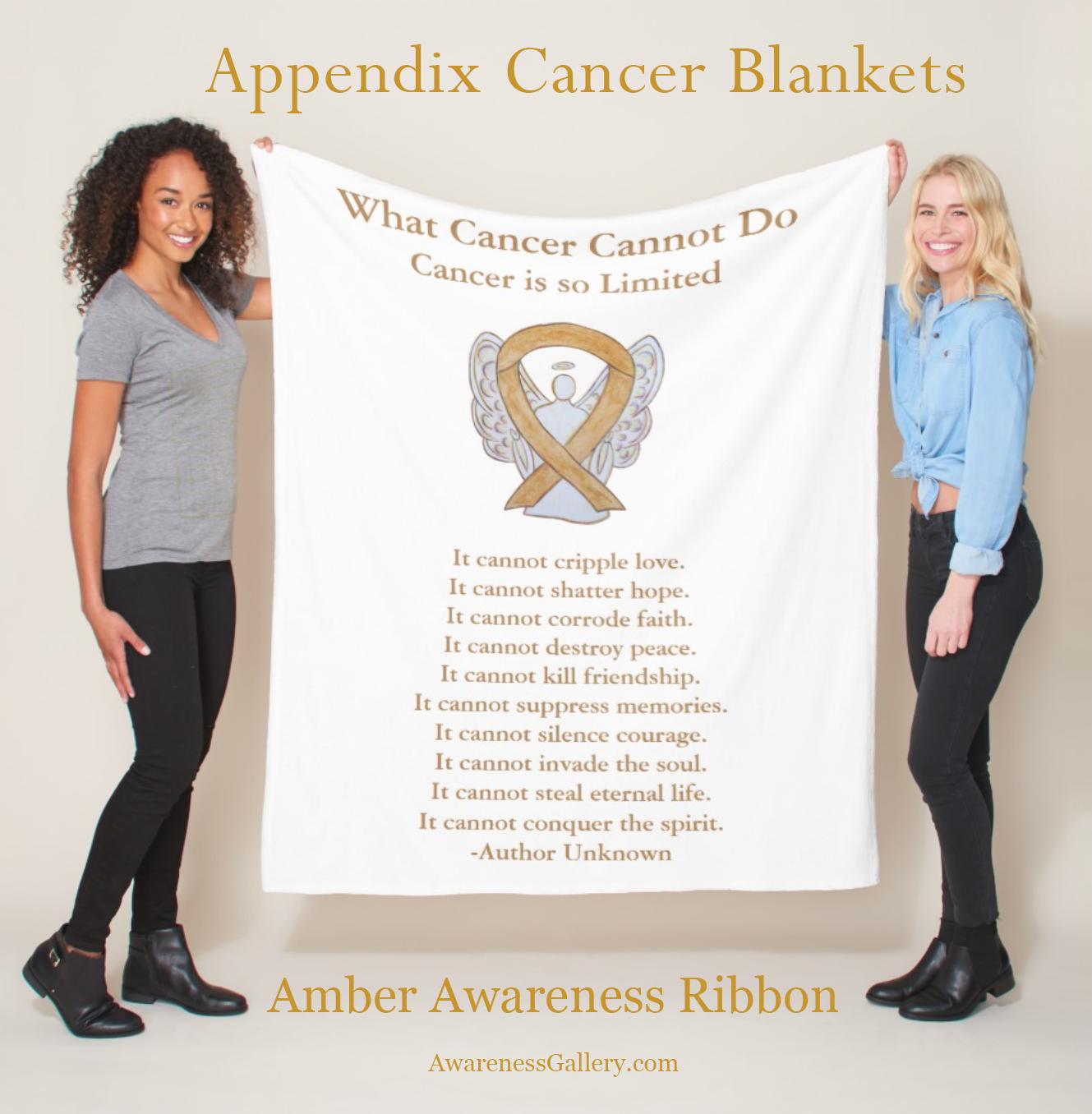 Custom Cancer Awareness Ribbon Fleece or Throw Personalized Blanket