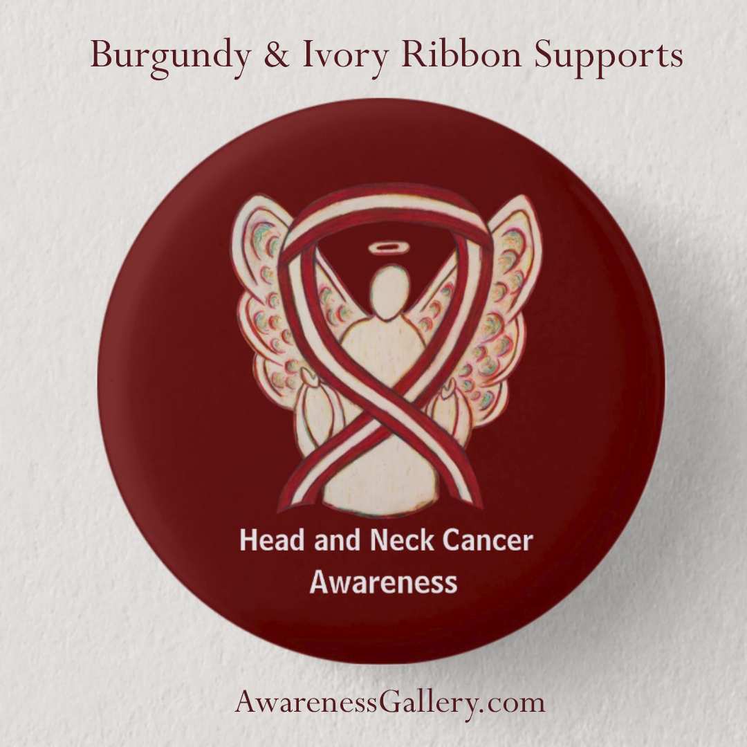 Head and Neck Cancer Awareness Burgundy and Ivory Ribbon Custom Buttons and Pins
