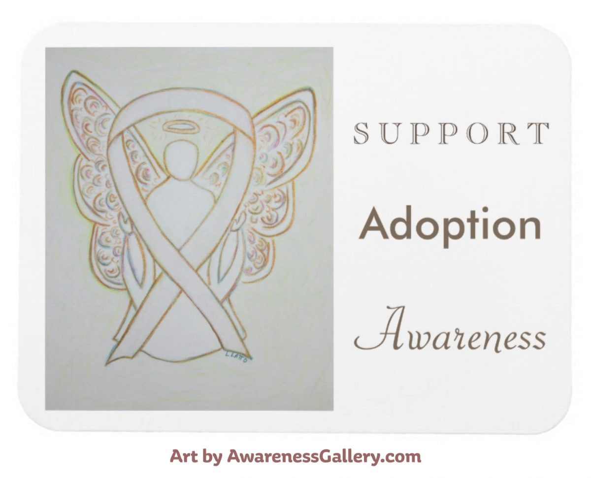 Personalized Adoption Awareness Ribbon White Angel Art Painting