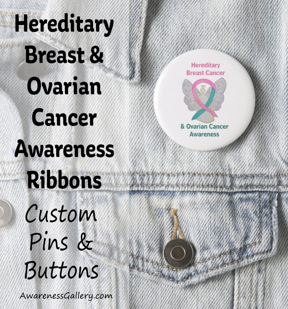 Breast and Ovarian Hereditary Cancer Syndrome Pink and Teal Awareness Ribbon Custom Buttons and Pins