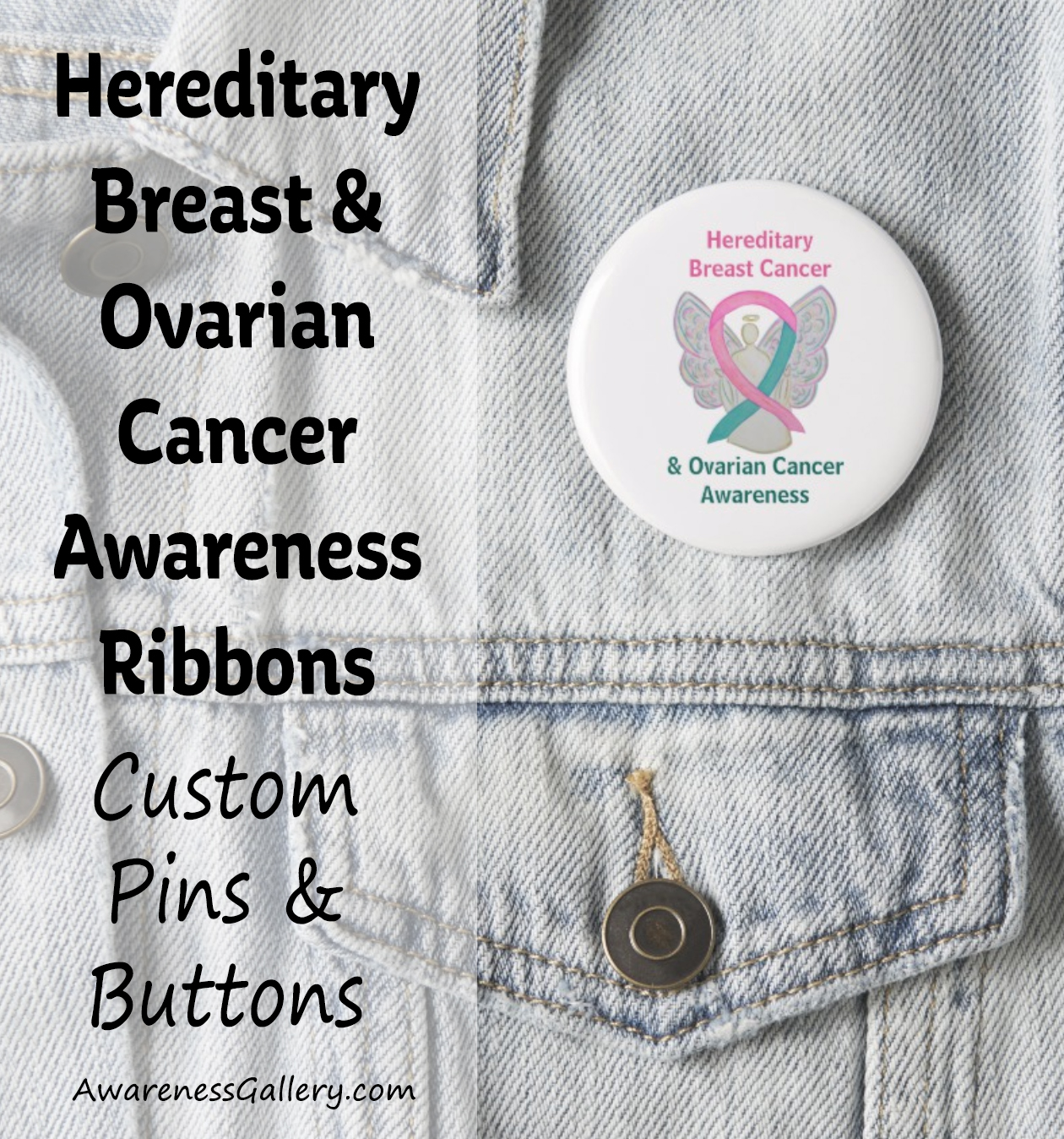 Personalize Hereditary Breast and Ovarian Cancer Awareness Ribbon Customized Pins and Buttons Art