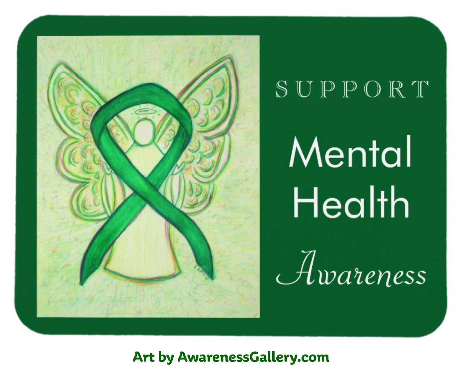Personalize Mental Health Awareness Green Ribbon Angel Art Custom Gift