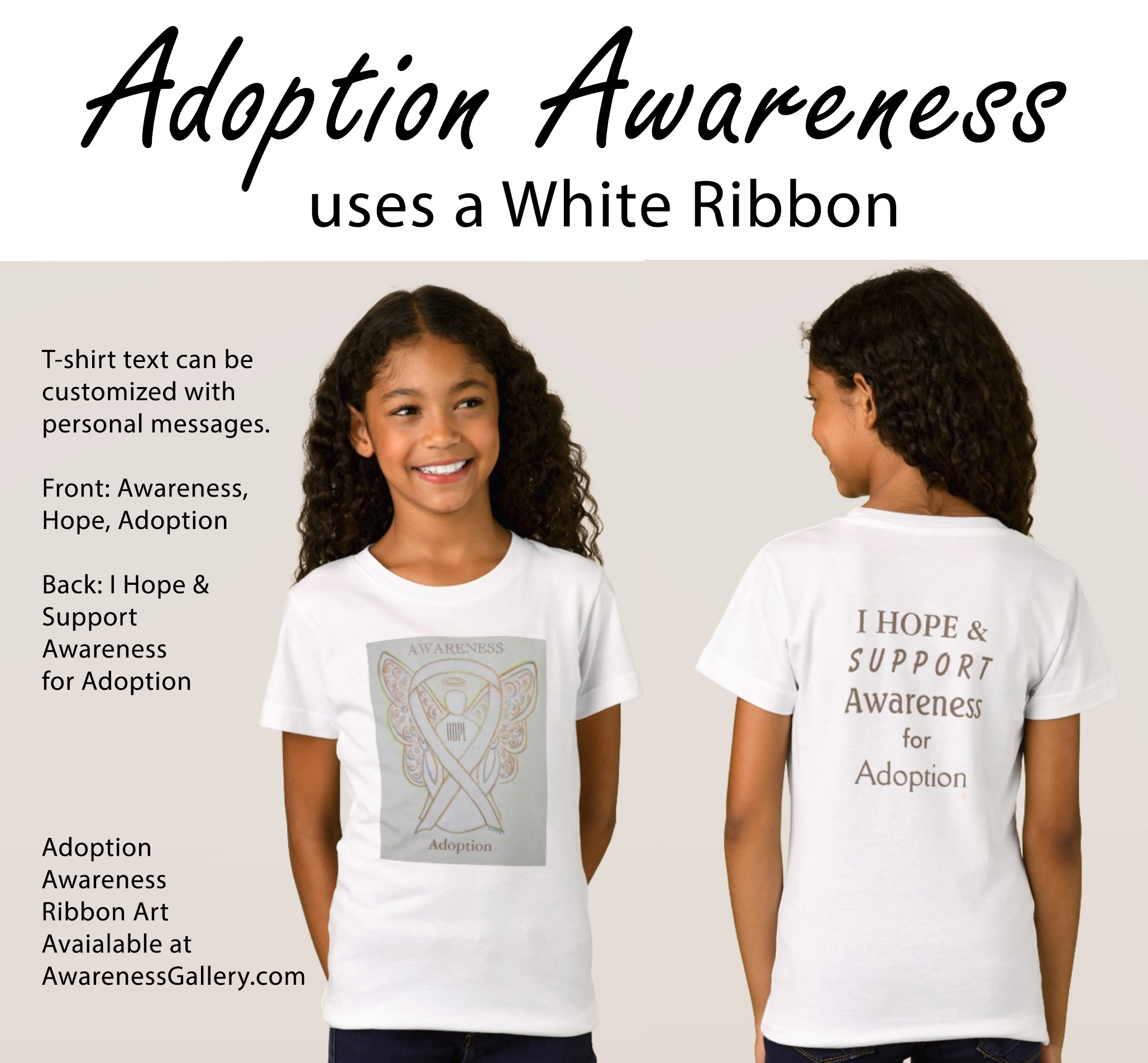 Adoption Awareness White Ribbon - Make Custom Adoption Awareness Clothing & Gifts!