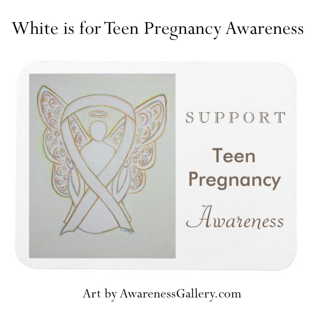 Teen Pregnancy Prevention White Awareness Ribbon Art & Custom Merchandise