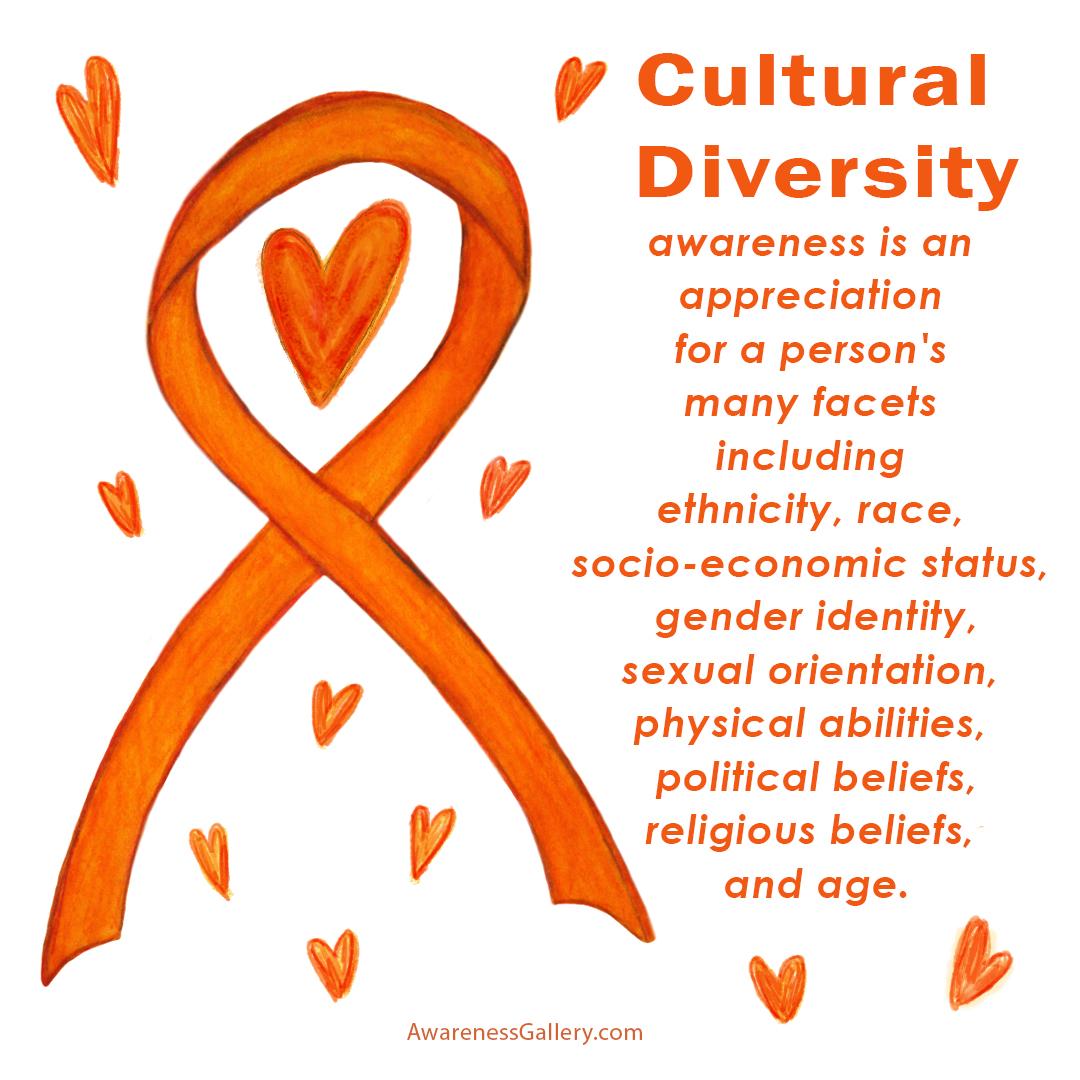 Cultural Diversity Awareness Ribbon Orange Hearts Artwork