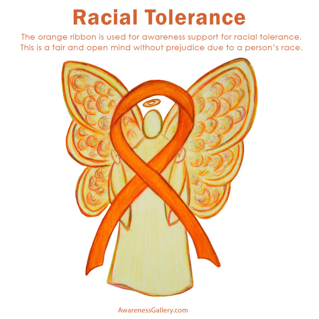 Racial Tolerance Awareness uses an orange ribbon for its cause support