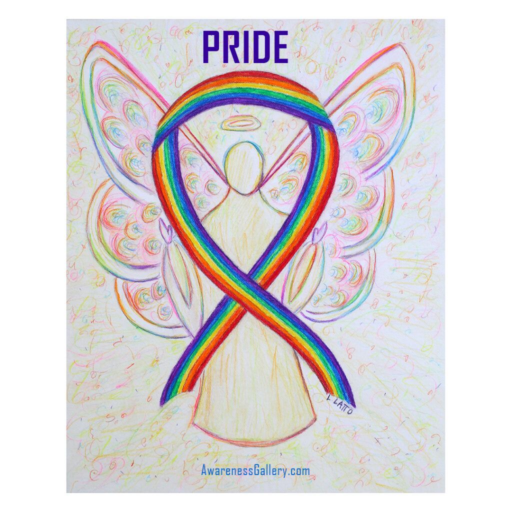 Pride Rainbow Awareness Ribbon Angel Art Painting