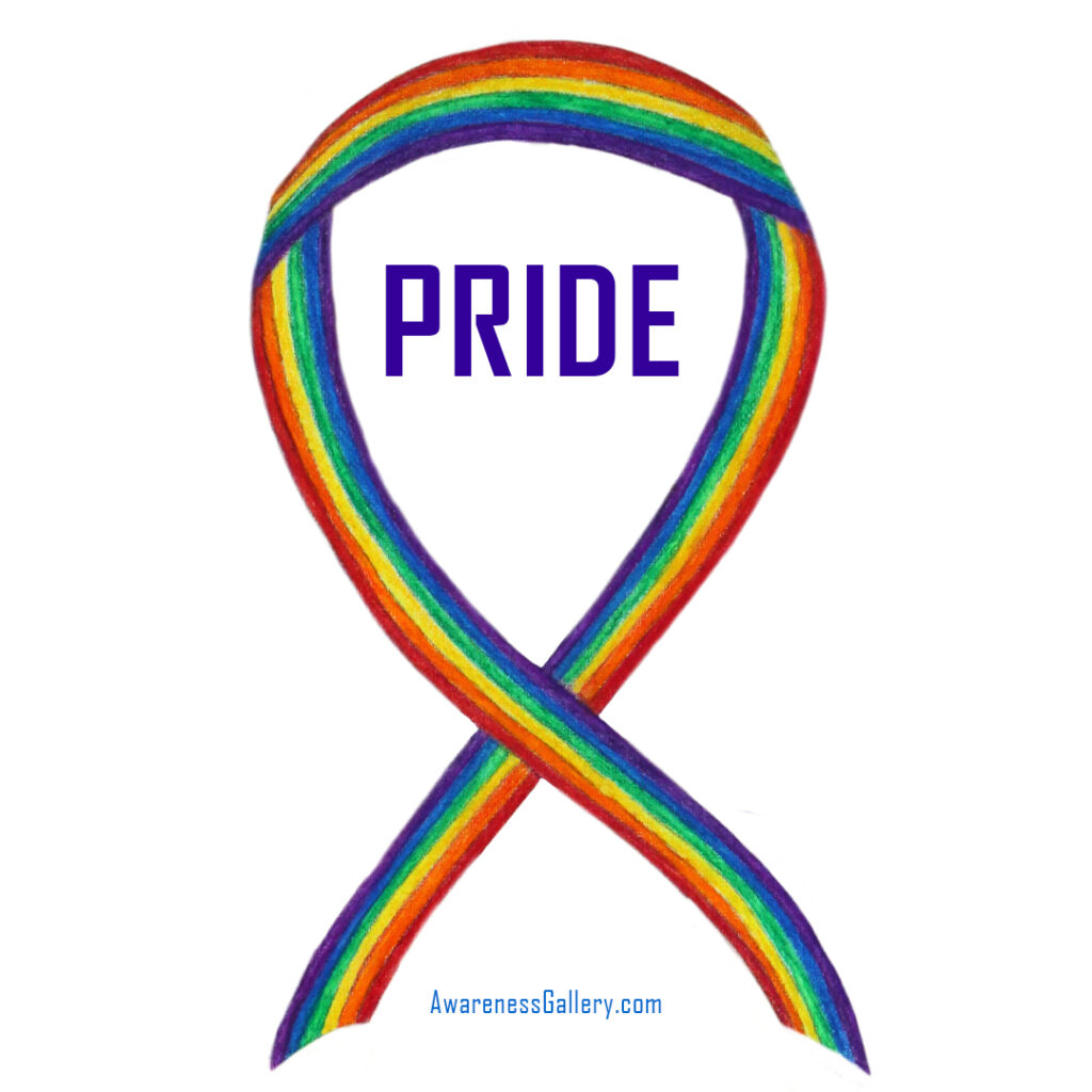 Pride Rainbow Awareness Ribbon Watercolor Art Painting