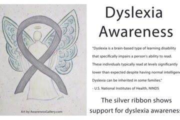 Dyslexia Awareness Silver Ribbon Angel Art