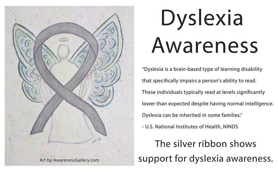 Dyslexia Awareness Silver Ribbon Angel Art
